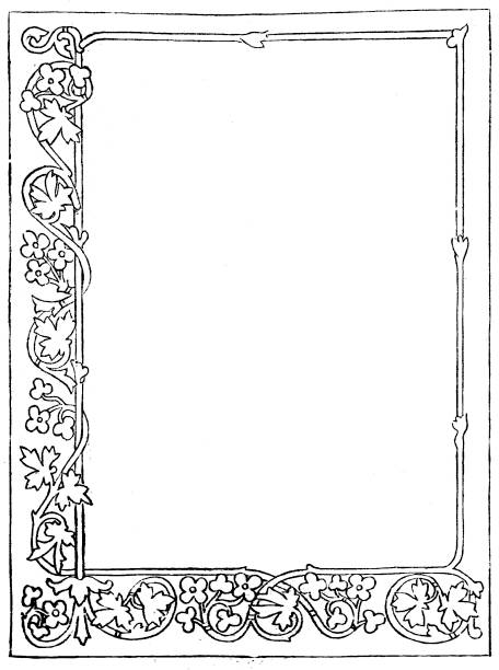 Victorian Decorative frame for a page; Empty text box in centre; 19th century page decoration  1883 vector art illustration