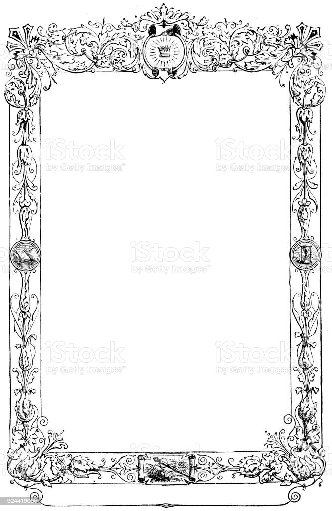 victorian decorative page frame with blank text box 19th century
