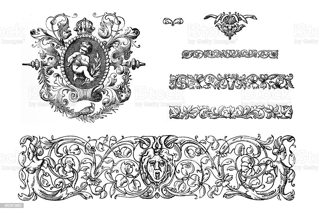 Victorian Design Elements vector art illustration