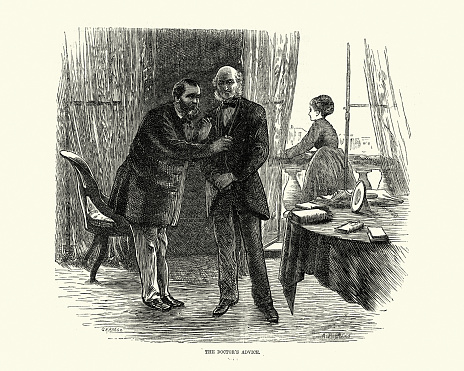 Vintage illustration of Victorian doctor visiting a patient at home 19th Century. 1870s