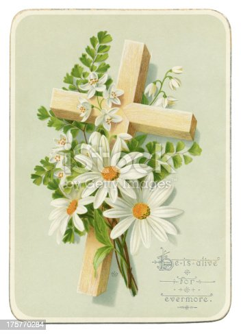 A bright Victorian Easter greetings card with a wooden cross, lilies of the valley and daisies. A note on the reverse indicates that it was sent in 1885.
