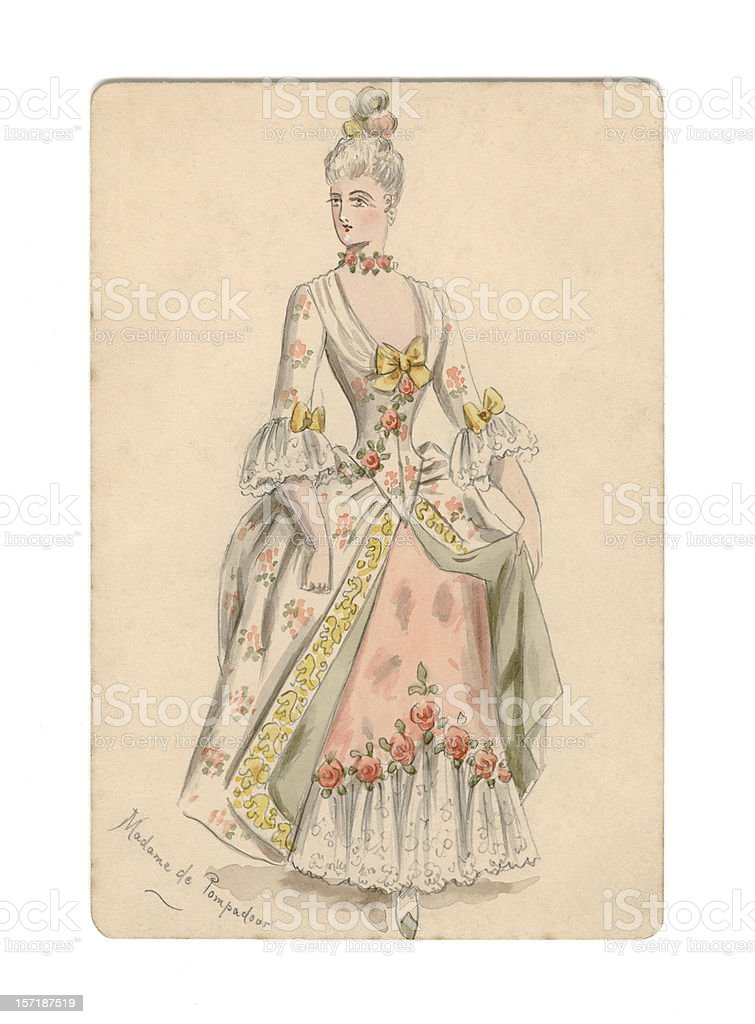 Victorian / Edwardian design for Madame de Pompadour costume royalty-free stock vector art