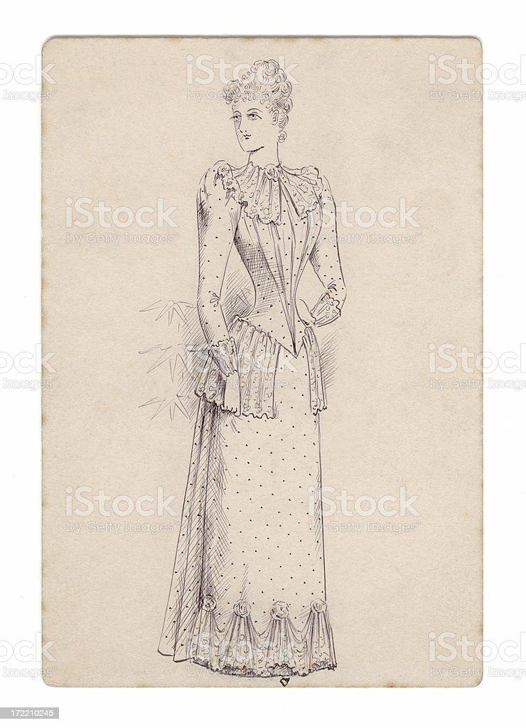 Victorian / Edwardian lady's dress design royalty-free stock vector art