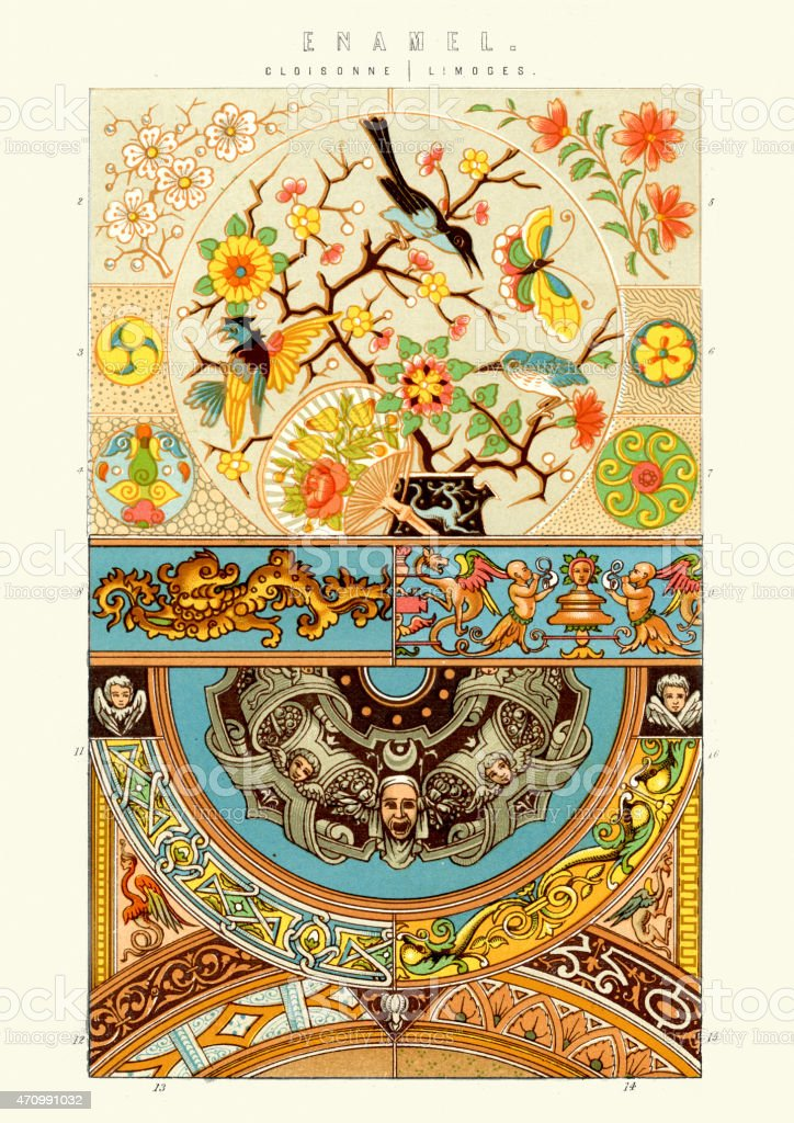 Victorian Enamel Patterns - Closisonne and Limoges vector art illustration