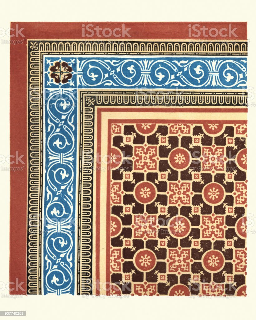 Victorian Encaustic And Geometric Floor Tile Pattern 1855 Stock