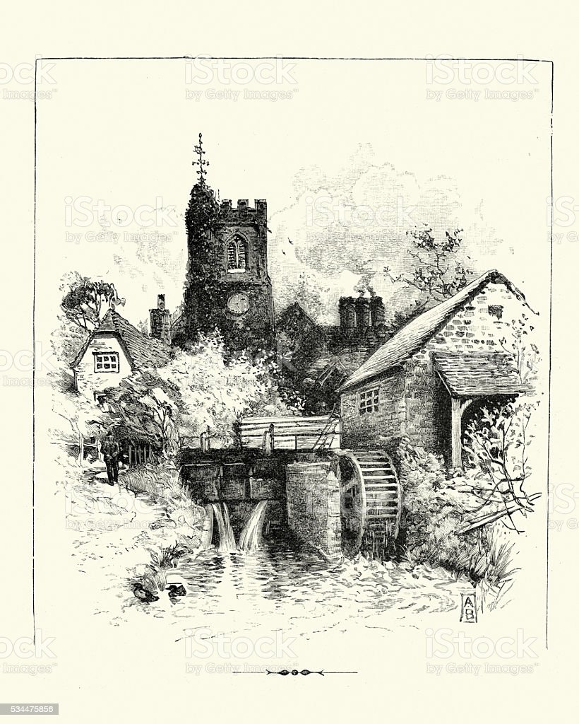 Victorian English Village - Church tower and Watermill vector art illustration