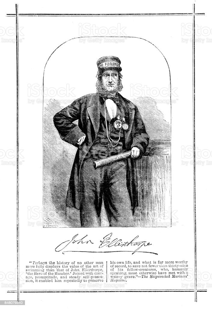 Victorian engraved illustration of John Ellerthorpe  in his uniform, known as 'The Hero of the Humber' rescued numerous people from a watery grave vector art illustration