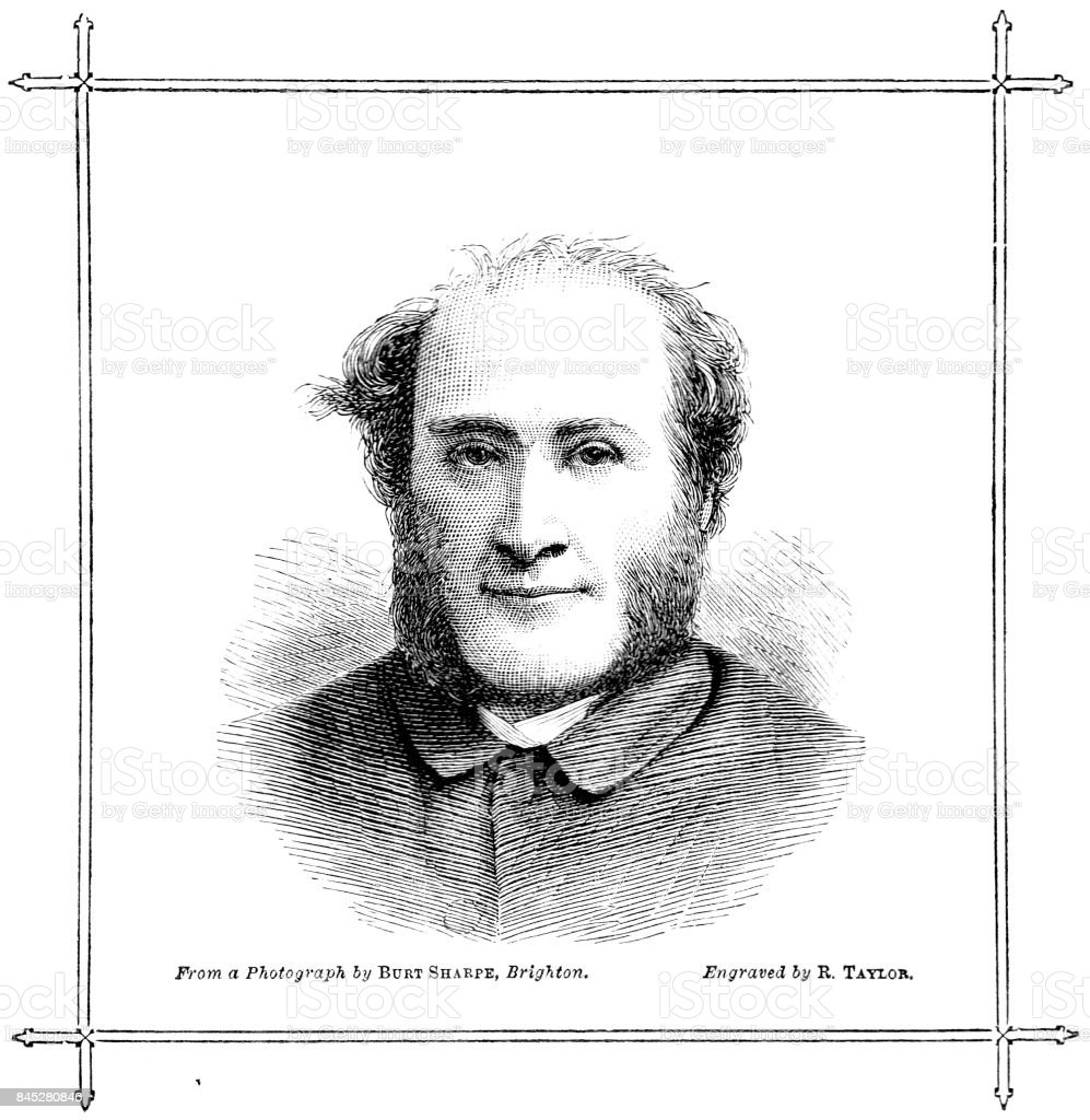 Victorian engraved image of Rev Henry Graham Thwaites; vicar St John's Carisbrooke Isle of Wight and Birmingham; 19th century clergy vector art illustration