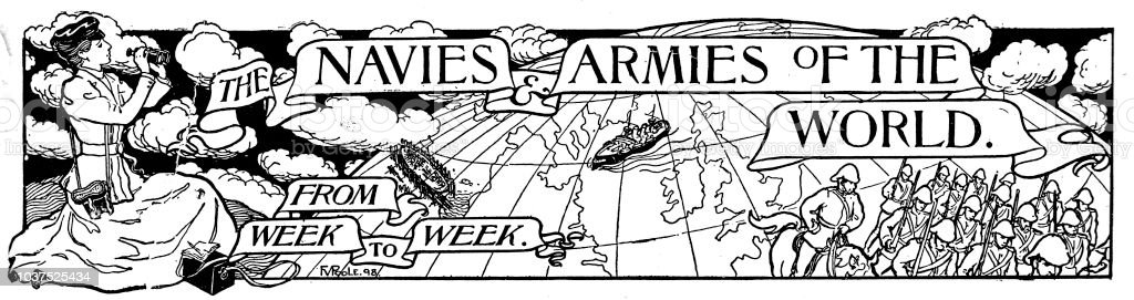 Victorian engraved page header entitled 'The Navies and Armies of the World from Week to Week.' depicts a lady with binoculars looking over a globe at soldiers on the other side ; from The Navy and Army Illustrated 1899 vector art illustration