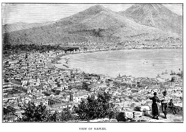 Victorian engraved view of Naples in the 1860's as described by Francis Galton famous explorer and geographer 1822-1911; 19th century world travels vector art illustration