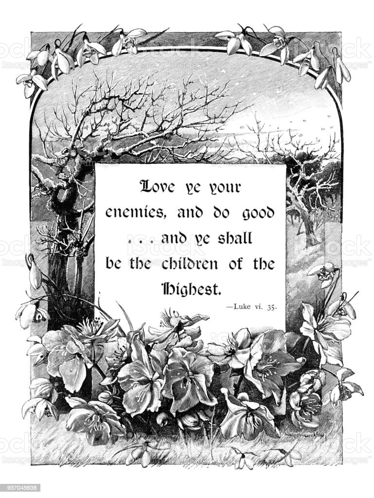Victorian Engraved Winter Themed Frame With Bible Quotation Stock