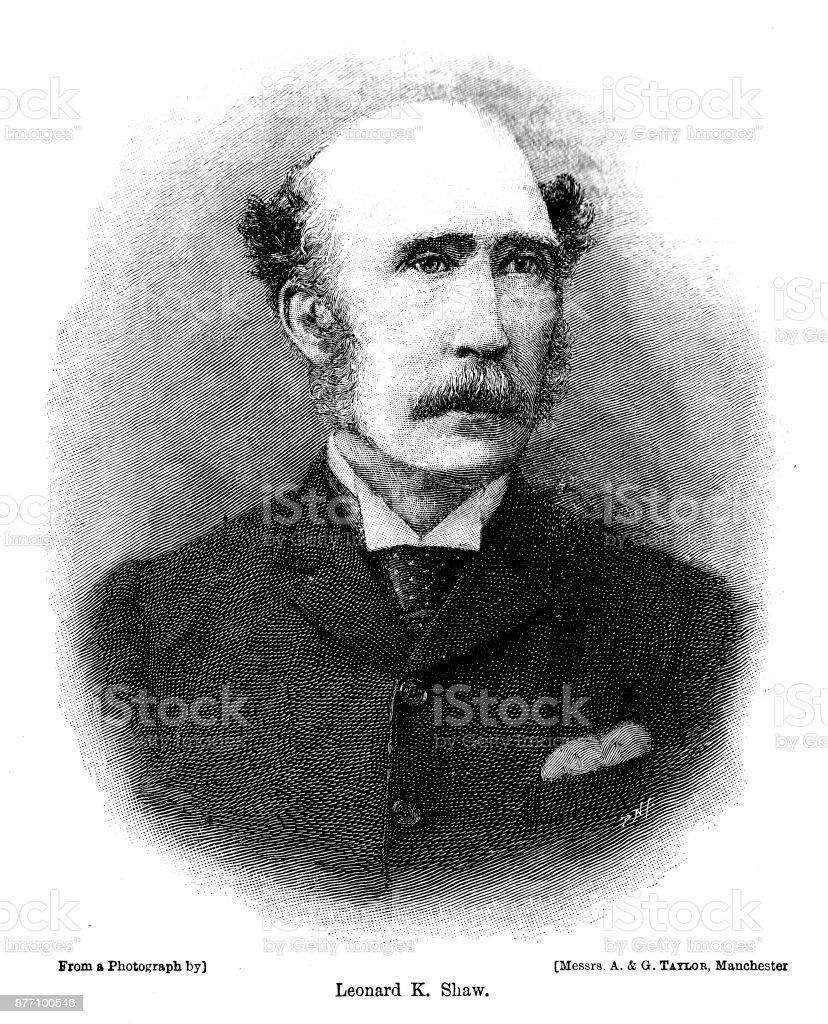 Victorian engraving head and shoulders portrait of Leonard K Shaw; 19th century Manchester philanthropist and friend of Barnardo 1890. vector art illustration