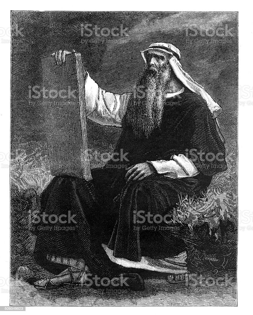 Victorian engraving Moses or other prophet  from 1880 journal vector art illustration