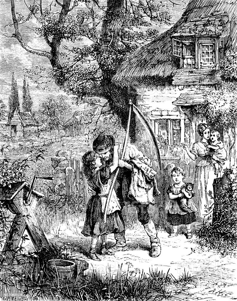 Victorian engraving of a cottage in the countryside with the family; 19th century images of rural families, father with his scythe and wife and daughters saying goodbye 1882 vector art illustration