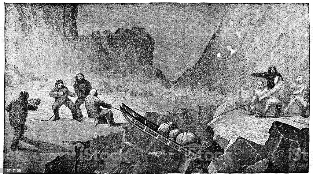 Victorian engraving of a perilous sled expedition royalty-free victorian engraving of a perilous sled expedition stock vector art & more images of accidents and disasters