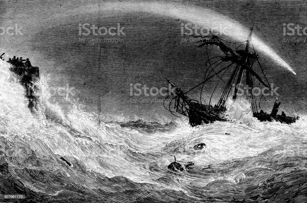 Victorian engraving of a rocket being fired over a ship in distress; 19th century maritime disasters and safety 1883 vector art illustration