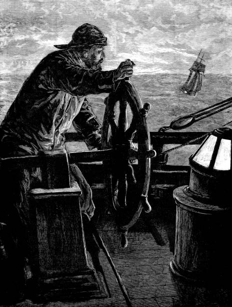 Victorian engraving of a sailor stood at the ships wheel with a light in front of him; 19th century illustration of a mariner and ships 1883 vector art illustration