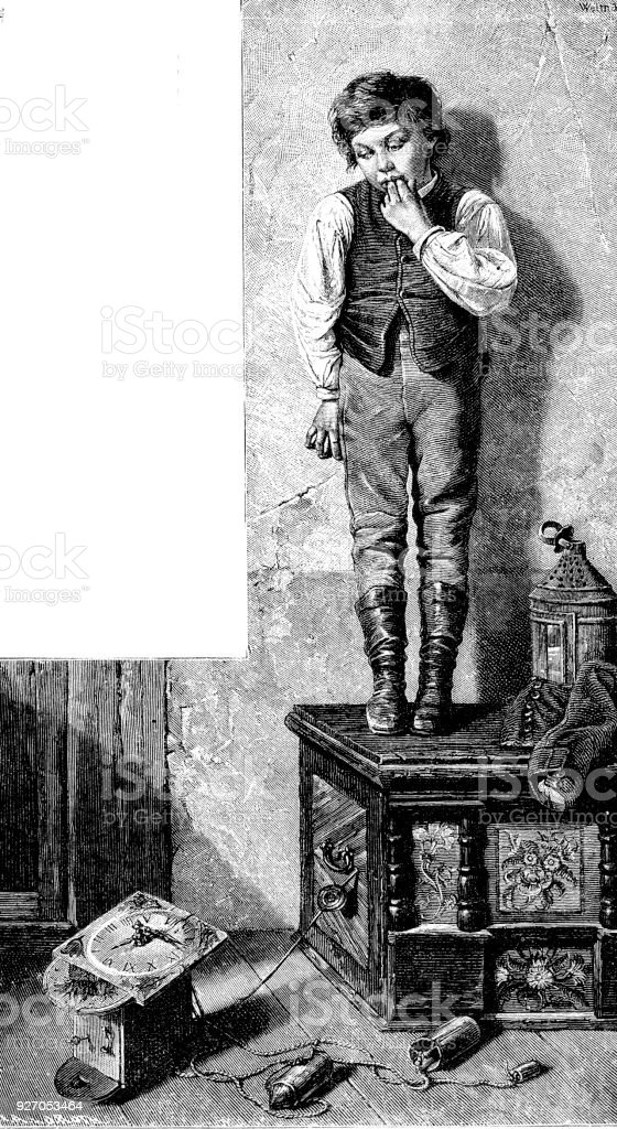 Victorian engraving of a young boy stood on a wooden carved box looking scared as he has knocked a clock off the wall; 19th century storytelling and children in mischief 1882 vector art illustration