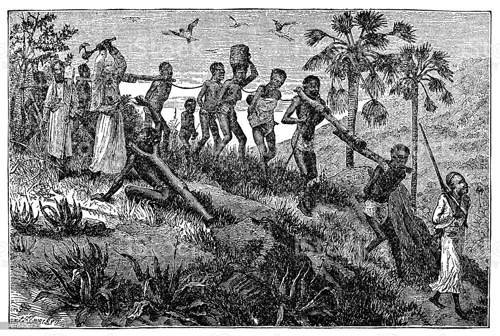 Victorian engraving of African slaves and slavers vector art illustration