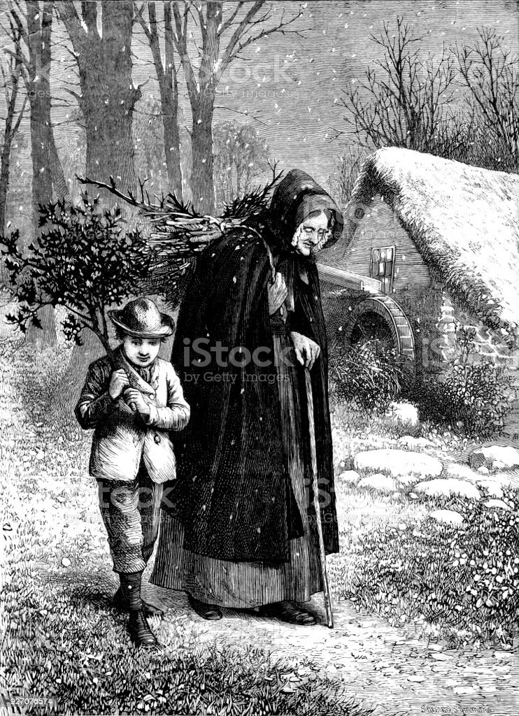 Victorian engraving of an elderly lady in a long cape with hood carrying sticks on her back a young boy walks besides her carrying holly; 19th century Christmas scenes in the countryside 1882 vector art illustration