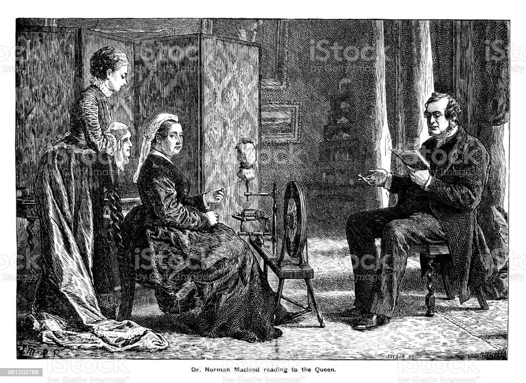 Viktorianische Gravur Von Dr Norman Mccloud Queen Victoria Umgeben ...