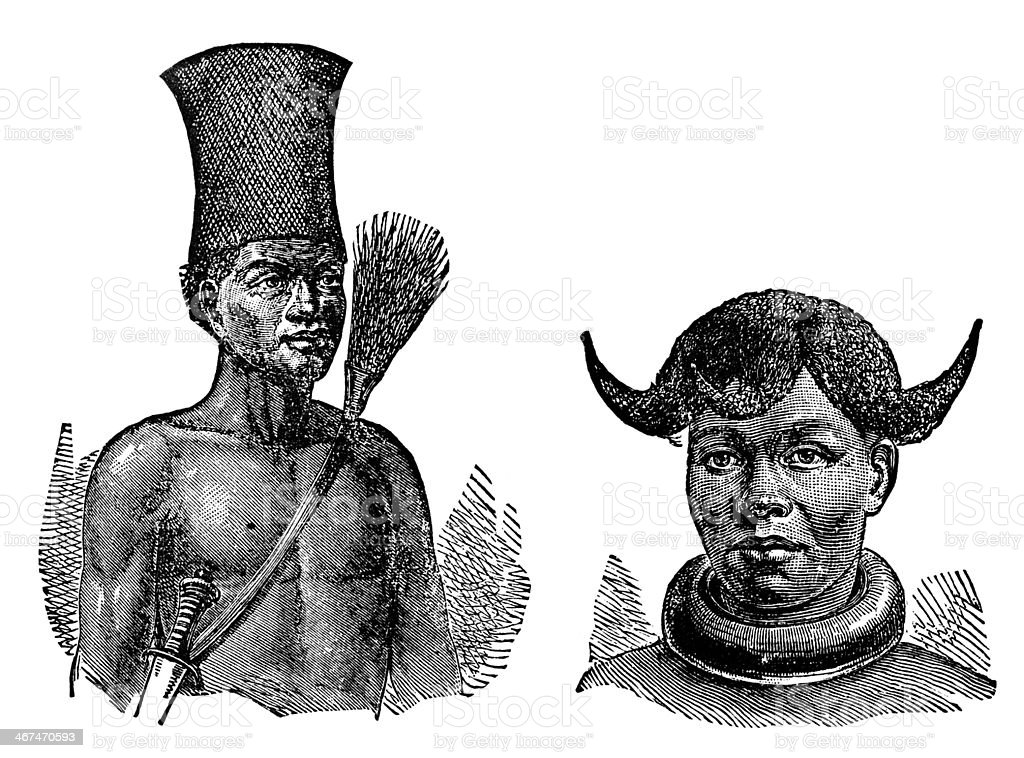 Victorian engraving of indigenous African men and women vector art illustration