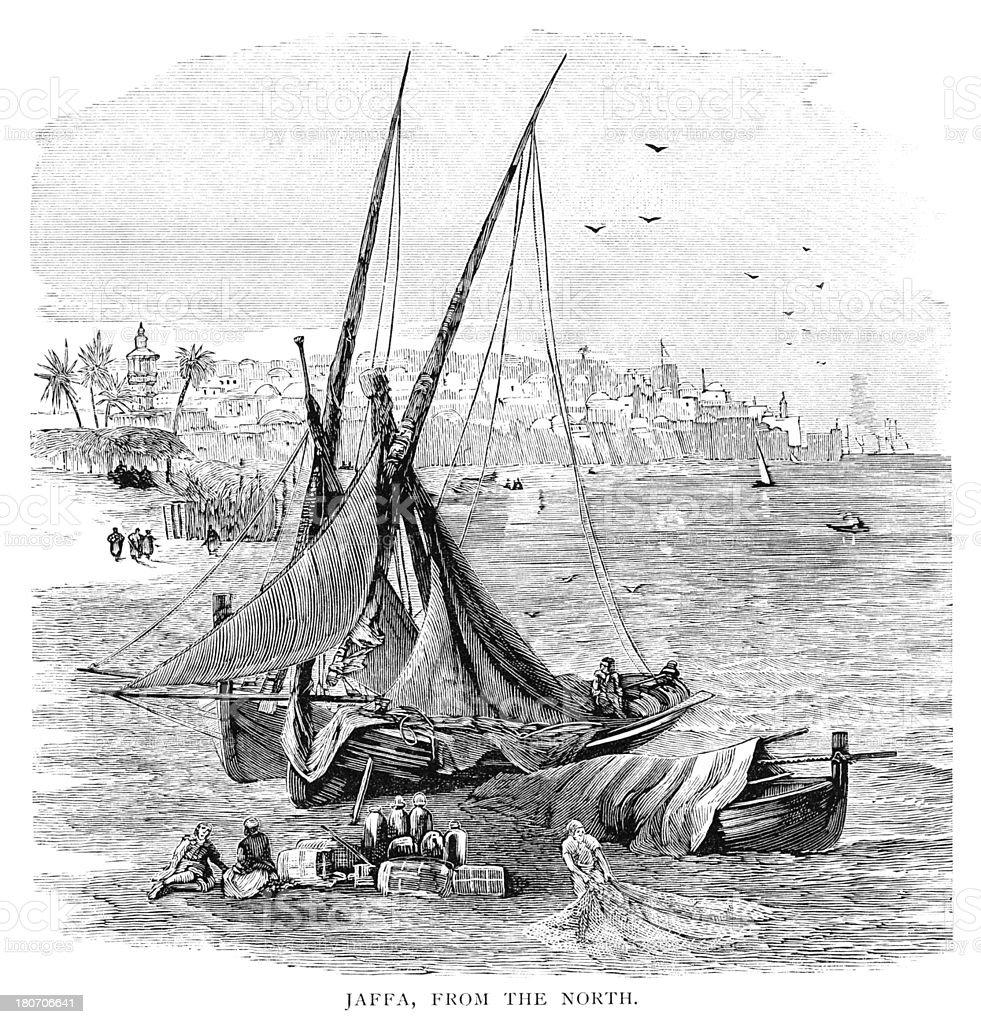 Victorian engraving of Jaffa, Israel now Tel Aviv royalty-free stock vector art