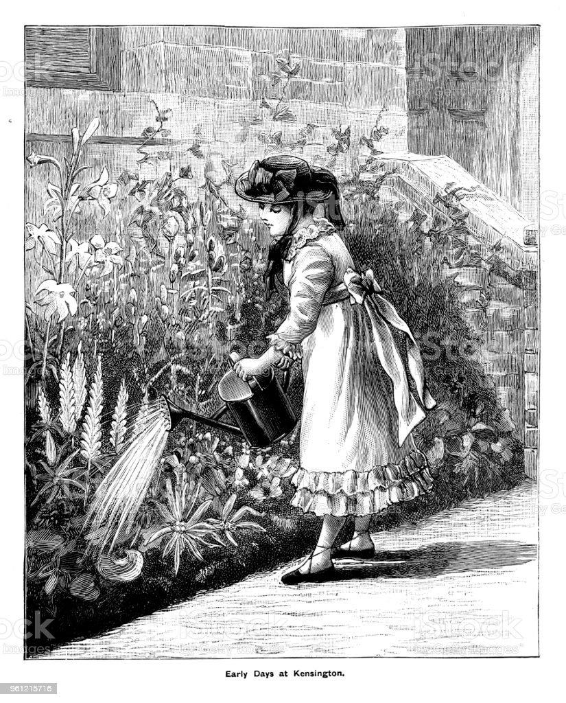 Viktorianische Gravur Der Prinzessin Viktorianischen Bewässerung ...