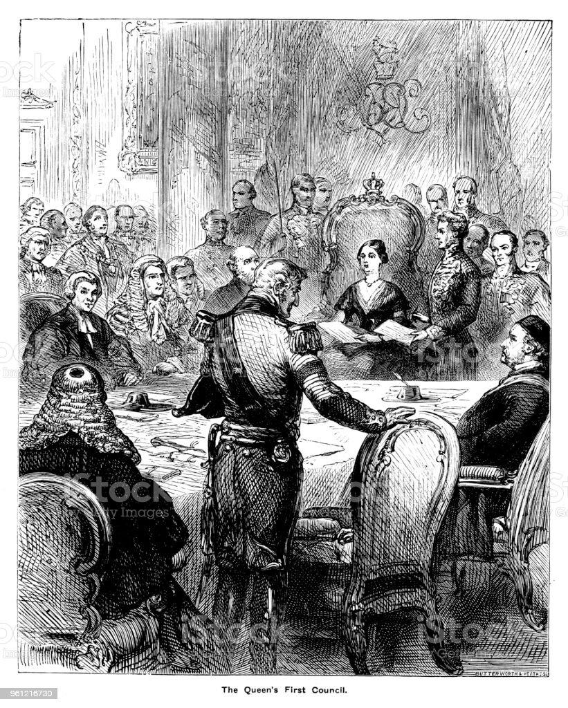 Viktorianische Gravur Von Königin Victoria Auf Ihrer Ersten Tagung ...