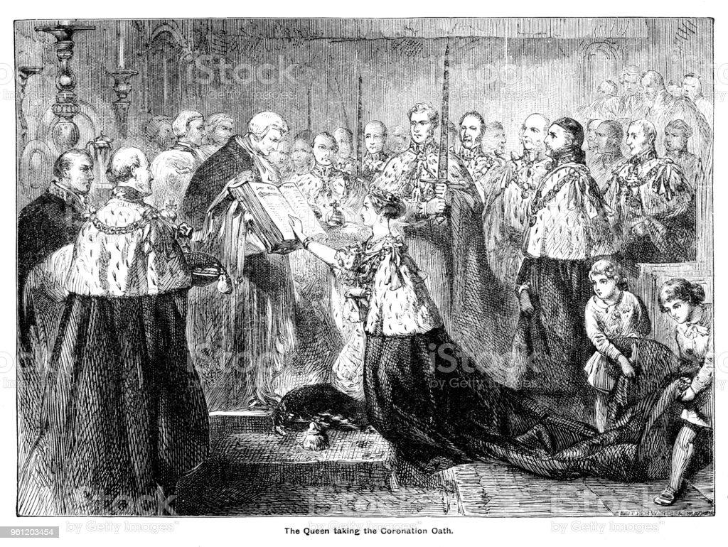 Viktorianische Gravur Von Königin Victoria Ihre Krönung ...