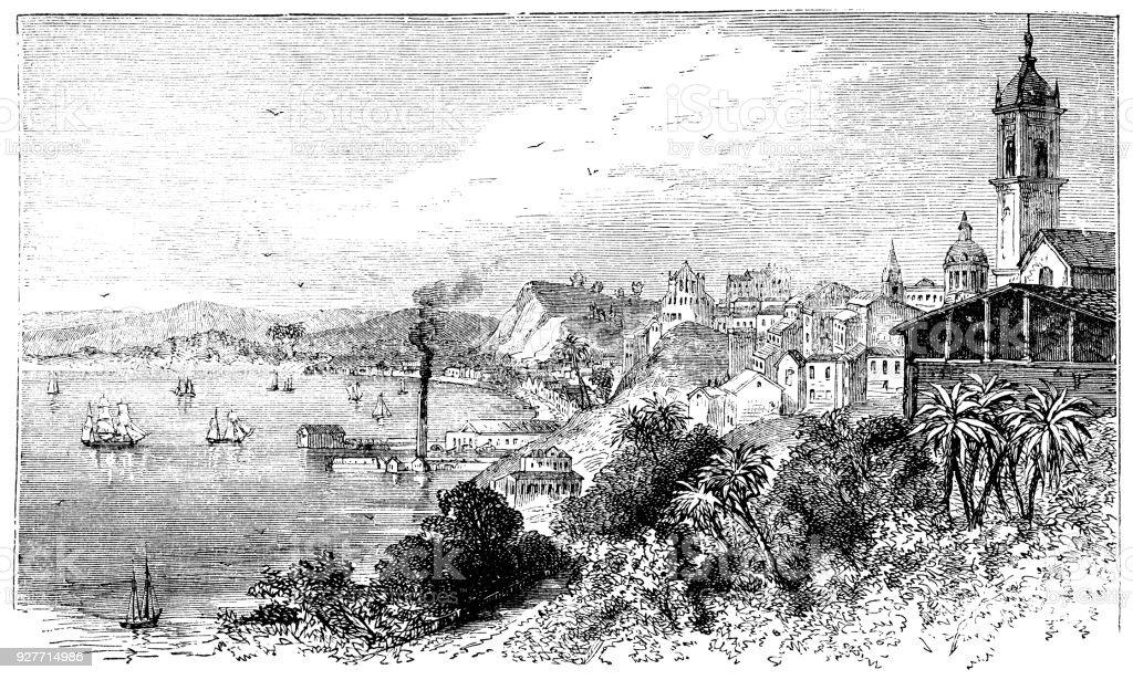 gravura de Victorian de Salvador, Bahia, Brasil - ilustração de arte em vetor