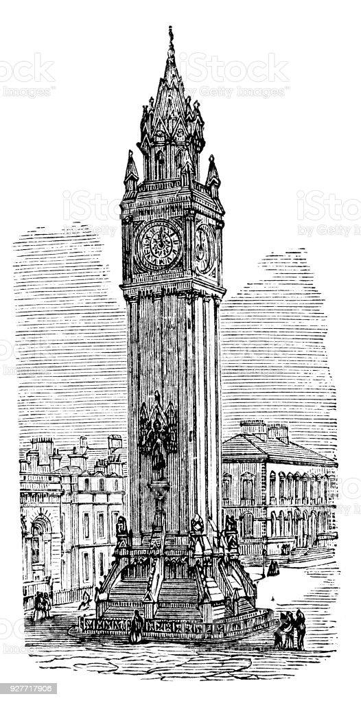 victorian engraving of the Albert Memorial Clock, Belfast vector art illustration