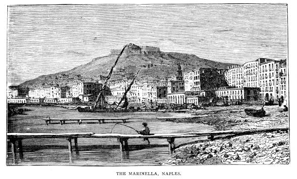 Victorian engraving of the Marinella Naples, Italy in the 1860's as described by Francis Galton famous explorer and geographer 1822-1911; 19th century world travels vector art illustration