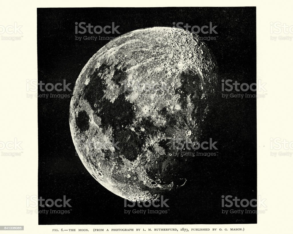 Victorian engraving of the Moon vector art illustration