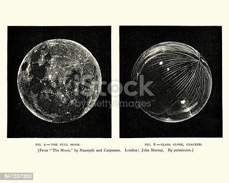 Vintage engraving of the Moon, with crater, 19th Century