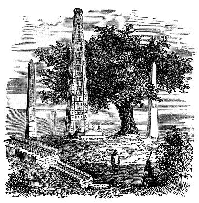 victorian engraving of the Obelisk of Axum, Ethiopia
