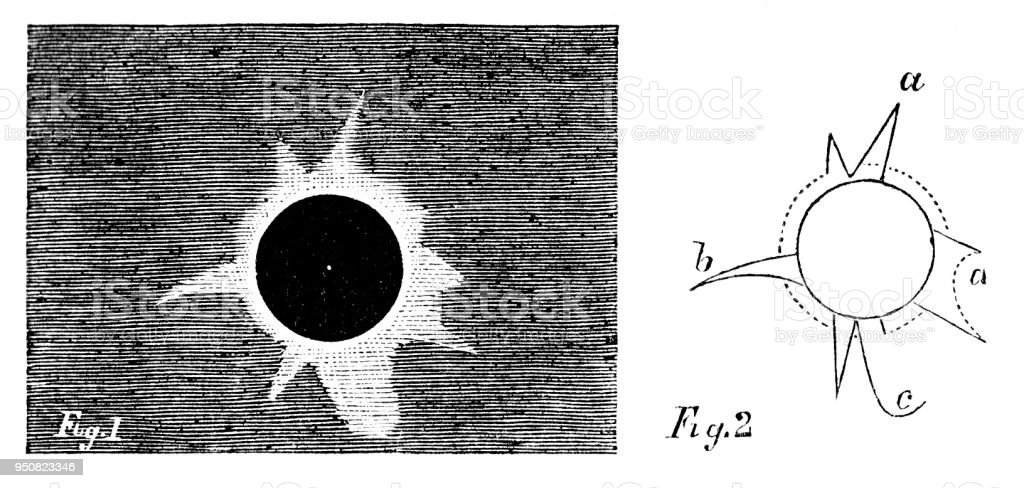 Victorian engraving of the total solar eclipse of 1860 as viewed from Spain by Francis Galton famous explorer and geographer 1822-1911; 19th century world travels vector art illustration
