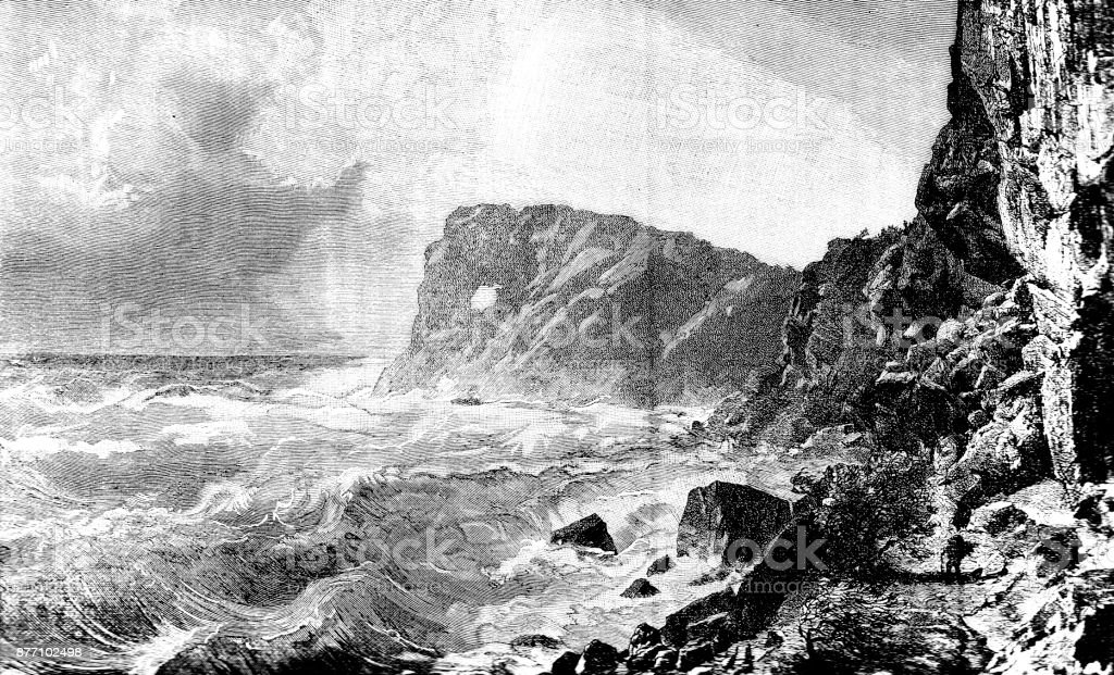 Victorian engraving Sa Foradada Mallorca, 19th century coastal scenery and tourism; cliffs, stormy seas and man 1890. vector art illustration