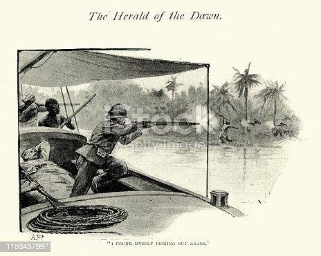 Vintage engraving of Victorian explorer in Africa defending himself from Arab tribesmen, 19th Century. John Reinhardt Werner, The Herald of the Dawn