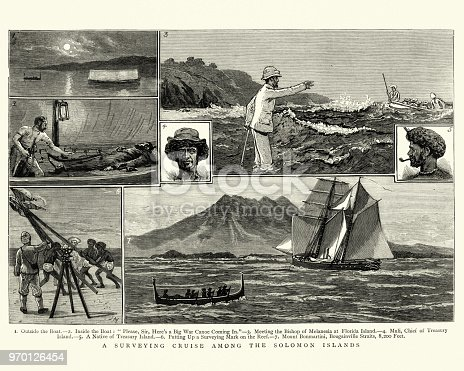 Vintage engraving of a scenes from Victorian explorers surveying voyage amoung the Solomon Islands, 1884.