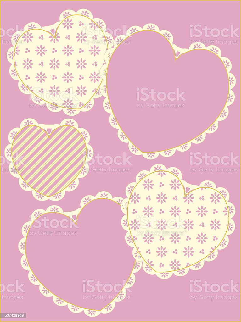 Victorian Eyelet Trimmed Hearts and Copy space vector art illustration