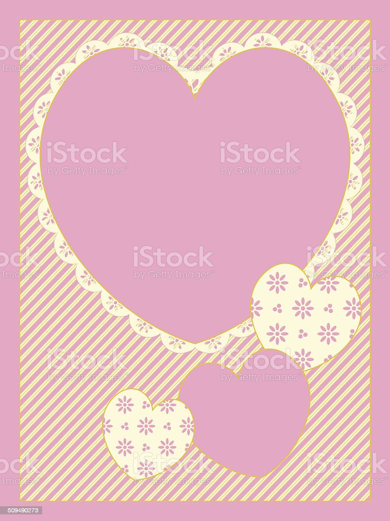 Victorian Eyelet Trimmed Hearts Copy space on striped background vector art illustration