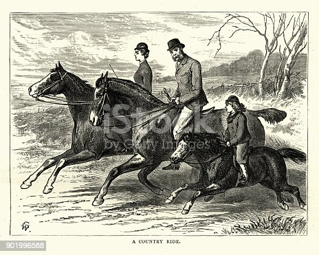 Vintage engraving of a Victorian family out for a riding in the country