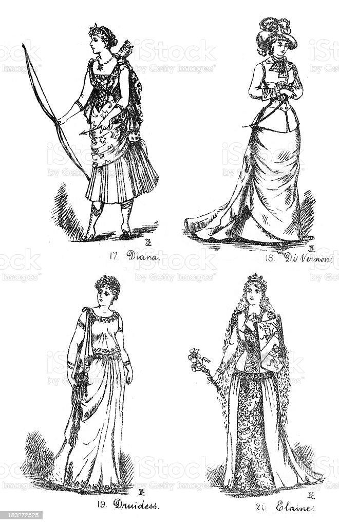 Victorian Fancy Dress Costumes royalty-free stock vector art