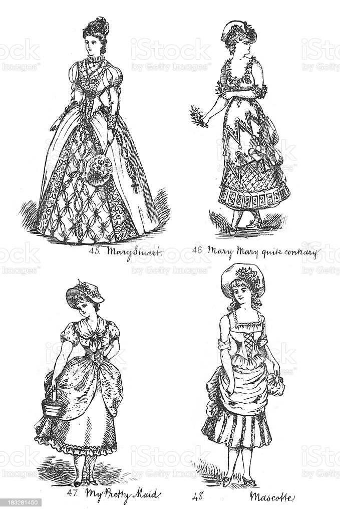 Victorian Fancy Dress Costumes royalty-free victorian fancy dress costumes stock vector art & more images of 19th century