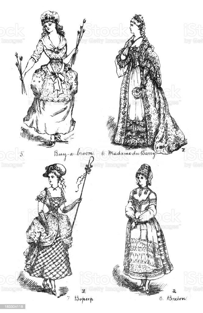 Robe fantaisie Costumes de l'époque victorienne - Illustration vectorielle