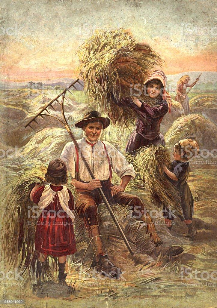 Victorian farmer and children harvesting hay. vector art illustration