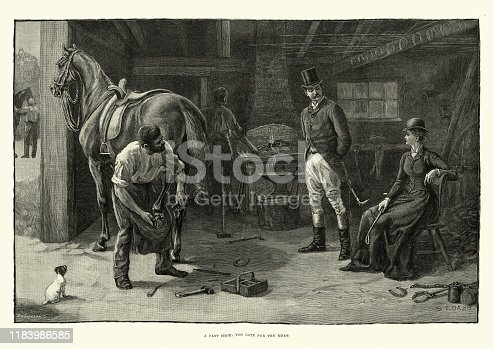 istock Victorian farrier shoeing a horse which has cast a shoe 1183986585