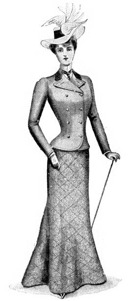 Victorian Fashion Vintage engraving of a young woman wear a fashionable dress suit from the late victorian early edwardian period. edwardian style stock illustrations