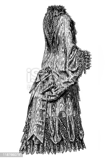 Illustration of a Victorian Fashion woman ,Cloak of moire with beaded lace